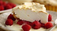 Simon Rimmer served up a delicious raspberry meringue pie with lemon curd and cream on Sunday Brunch. The ingredients are: 400g shortcrust pastry (blind baked in a 23cm tin), 300g...