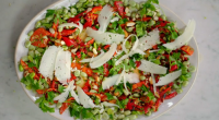 Jamie Oliver served up a tasty Spanish inspired broad bean and manchego cheese salad on Jamie's Quick and Easy salad. See more recipes from Jamie in his new book titled:...