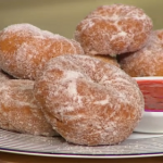 Simon Rimmer Vegan Doughnuts with strawberry dipping sauce recipe on Sunday Brunch