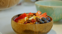 Pamela Higgins showcased her homemade granola recipe on Nadiya's Family Favourites. See Nadiya's recipes in her book titled: Nadiya's Family Favourites: Easy, beautiful and show-stopping recipes for every day from...