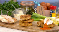 Phil Vickery served up Nigel's food heaven simple summer crab cakes with cucumber relish on This Morning. The ingredients are: 1 medium egg, 2 tbsp mayonnaise, 2 tsp English mustard,...