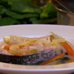 Raymond Blanc poached salmon with sorrel recipe on Saturday Kitchen