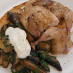 John Torode roasted quail with portobello mushrooms and horseradish cream recipe on Celebrity Masterchef
