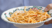 Nonna Maria served up a pasta tuna with courgettes and almonds pasta on Jamie Cooks Italy. See Jamie' recipes in his book titled: Jamie Cooks Italy available from Amazon now....