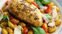 Donal Skehan served up tasty Garlic and Rosemary Chicken With Tomato Gnocchi on Sunday Brunch. The ingredients are: 2 garlic cloves, crushed, Pinch of sea salt, 2 rosemary sprigs, leaves...