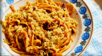 Nonna Teresa served up a tasty macaroni with spicy peppers and horseradish pasta on Jamie Cooks Italy. The ingredients are: 300 g dried bucatini, or rigatoni, olive oil, 50 g...