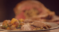 Jamie Oliver served up a tasty Italian roast leg of lamb with herb stuffing, potatoes and burnt marmalade onions on Jamie Cooks Italy. See Jamie' recipes in his book titled:...