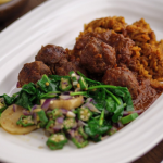 Zoe Adjonyoh Suya Meatballs With Jollof Rice recipe on Sunday Brunch