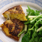 Tom Kerridge roasted cauliflower and cheese omelette with apple salad recipe on Sunday Brunch