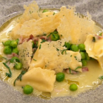 Monica Galetti agnolotti with peas, bacon and cheese bechamel sauce recipe on MasterChef: The Professionals