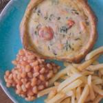 Liam Charles salmon patty quiche recipe on Liam Bakes