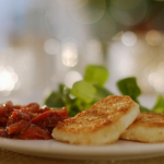 Mary Berry crispy halloumi with fresh tomato chutney recipe on Mary Berry's Christmas Party