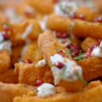 Nadiya Hussain chunky halloumi chips recipe on Nadiya's Party Feasts