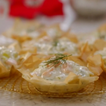 Mary Berry creamy salmon with dill and leek tarts recipe on Mary Berry's Christmas Party