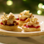 Mary Berry parsnip blinis with cranberry sauce and Yorkshire blue cheese recipe