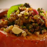Stuffed roast squash with mixed fruit and nuts recipe on Jamie's Quick and Easy Christmas