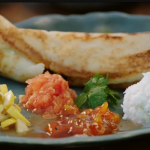 Jamie's Indian dosa with coconut chutney and lemon pickle recipe on Friday Night Feast