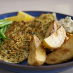 Tom Kerridge plaice gremolata with posh tartare sauce and potato wedges recipe on Tom Kerridge's Fresh Start