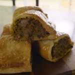 Tom Kerridge pork with lentils and veg sausage rolls recipe on Tom Kerridge's Fresh Start