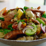 Tom Kerridge tomato salad with chargrilled chorizo recipe on Tom Kerridge's Fresh Start