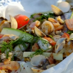 James Martin BBQ bacon and seafood En papillote with sea water recipe on James Martin's Great British Adventure