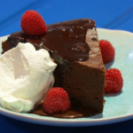 Simon Rimmer old school chocolate cake with sauce recipe on Sunday Brunch