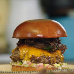 Jamie's Ultimate British burger with pulled oxtail recipe on Friday Night Feast