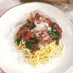 Phil Vickery Monday night meatballs with spaghetti and beetroot gnocchi recipe on This Morning