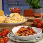 Isaac Carew tagliatelle pasta with a spicy tomato and salami nduja sauce recipe on This Morning pasta masterclass