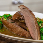 Brian Turner roast duck with peas, onions and herbs recipe on James Martin's Saturday Morning