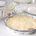 Lisa Faulkner rhubarb crumble with stem ginger and custard recipe on John and Lisa's Weekend Kitchen