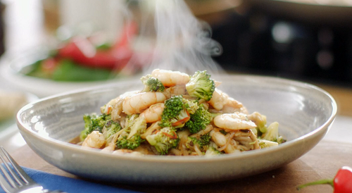 Mary Berry King Prawns With Oyster Mushrooms And Broccoli