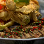 Theo Randall Jerusalem artichoke with steak and fritto misto recipe on Sunday Brunch