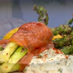 Phil Vickery farm-fresh asparagus wrapped in smoked salmon with pea creme fraich recipe on This Morning
