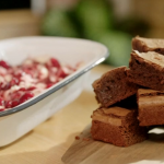 Lisa Faulkner chocolate brownie and raspberry ripple ice cream recipe on John and Lisa's Weekend Kitchen