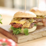 John Torode bacon and cheese burger recipe on John and Lisa's Weekend Kitchen