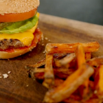 Phil Vickery burger with sweet potato chips recipe on Save Money: Good Diet