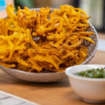 John Torode Onion Bhajis with Green Chilli and Coriander Dip recipe on John and Lisa's Weekend Kitchen
