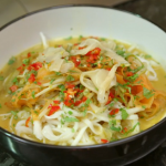 Chris Bavin and Angela Gambling Japanese udon noodle soup recipe on Eat Well For Less?
