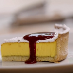 Phil Vickery egg custard tart with orange flower water and fruit sauce recipe on John and Lisa's Weekend Kitchen
