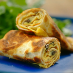 Nadiya Hussain crispy egg rolls with mushrooms and fried tortilla wraps recipe on Nadiya's Time to Eat