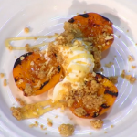 Simon Rimmer Chargrilled Apricots with Almond Creme Frache and Crumble recipe on Sunday Brunch