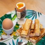Lisa Faulkner cheese and ham toasty soldiers with Dijon mustard and boiled eggs recipe on John and Lisa's Weekend Kitchen
