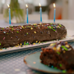 Nadiya Hussain chocolate lime roll Birthday cake recipe on Nadiya's Time to Eat
