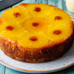 Simon Rimmer pineapple upside down sponge with custard recipe on Sunday Brunch