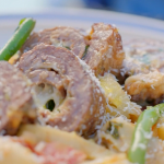 Si and Dave's braciole with beef, basil, tomato and cheese recipe on Hairy Bikers: Route 66