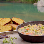 Succotash corn and bean stew with wild garlic cornbread recipe on Hairy Bikers: Route 66