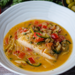 Mary Sue Milliken Wild Alaska Black Cod Veracruzana recipe on Sunday Brunch