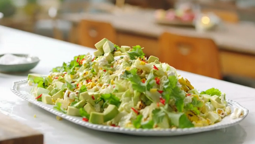 Jamie Oliver Double Corn Salad With Pop Corn And Yoghurt Recipe On Jamie S Meat Free Meals The Talent Zone