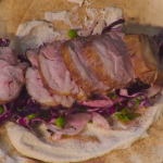 Simon Rimmer Lamb Rump 'Kebab' with Coleslaw and Tahini sauce recipe on Sunday Brunch